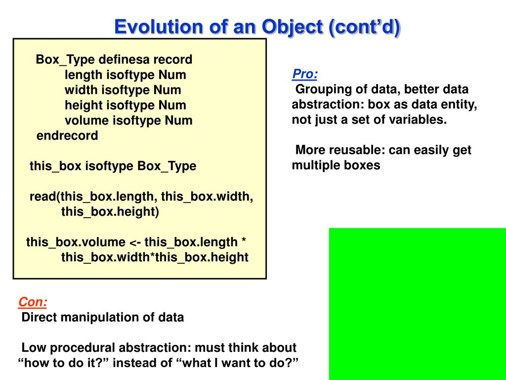Evolution of an Object (cont'd)