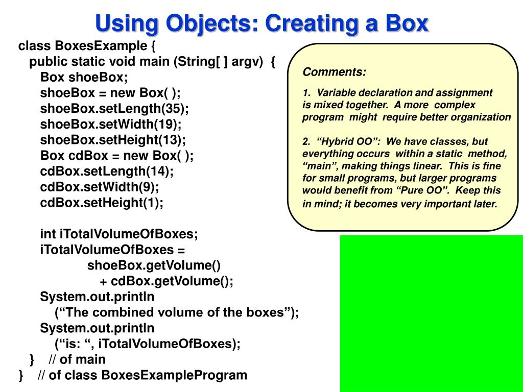 Using Objects: Creating a Box