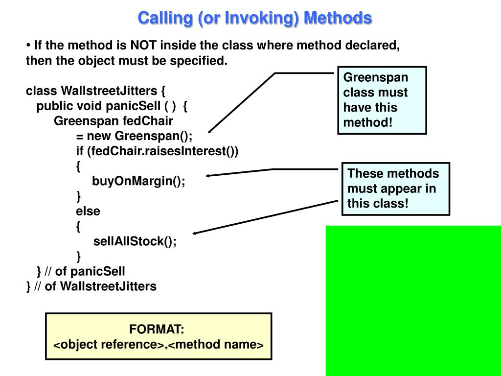 Calling (or Invoking) Methods