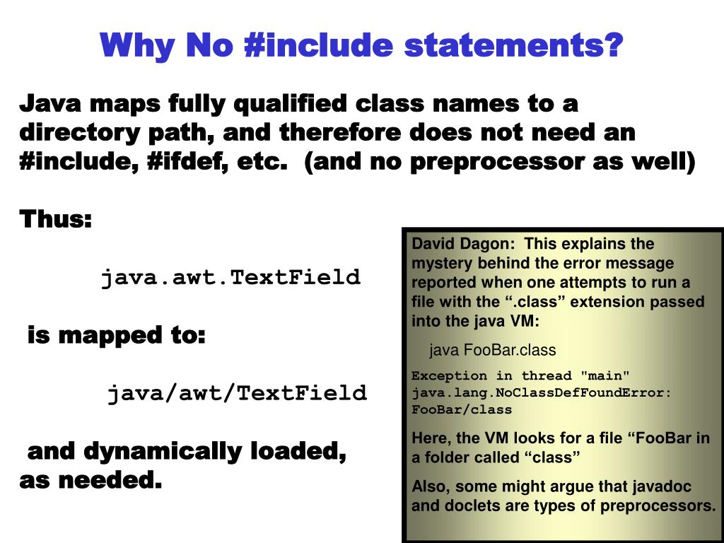 Why No #include statements?