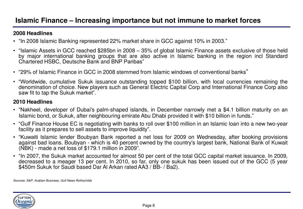 Islamic Finance – Increasing importance but not immune to market forces