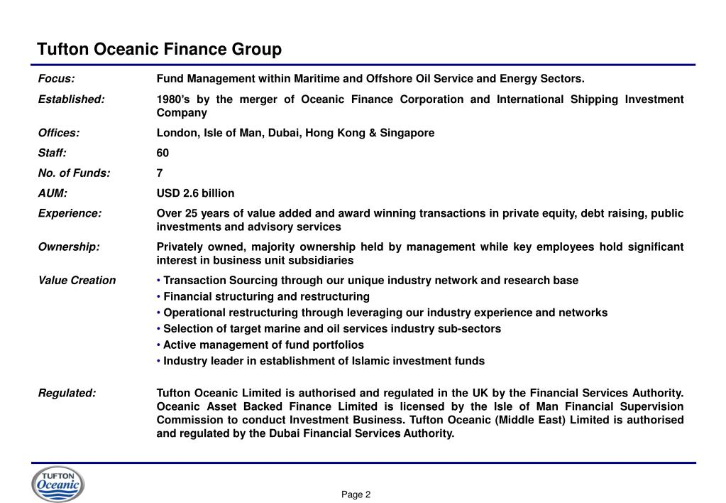 Tufton Oceanic Finance Group