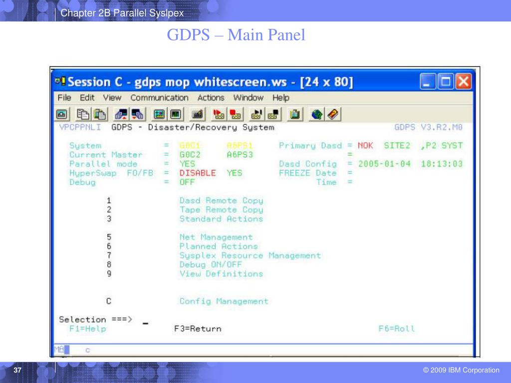 GDPS – Main Panel