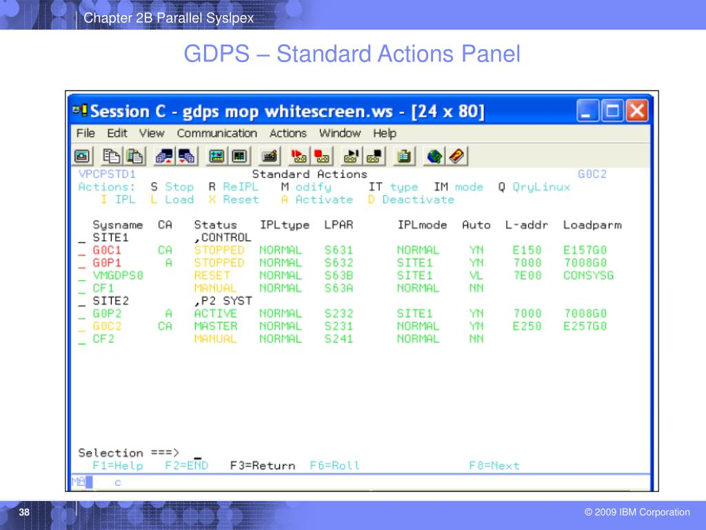 GDPS – Standard Actions Panel