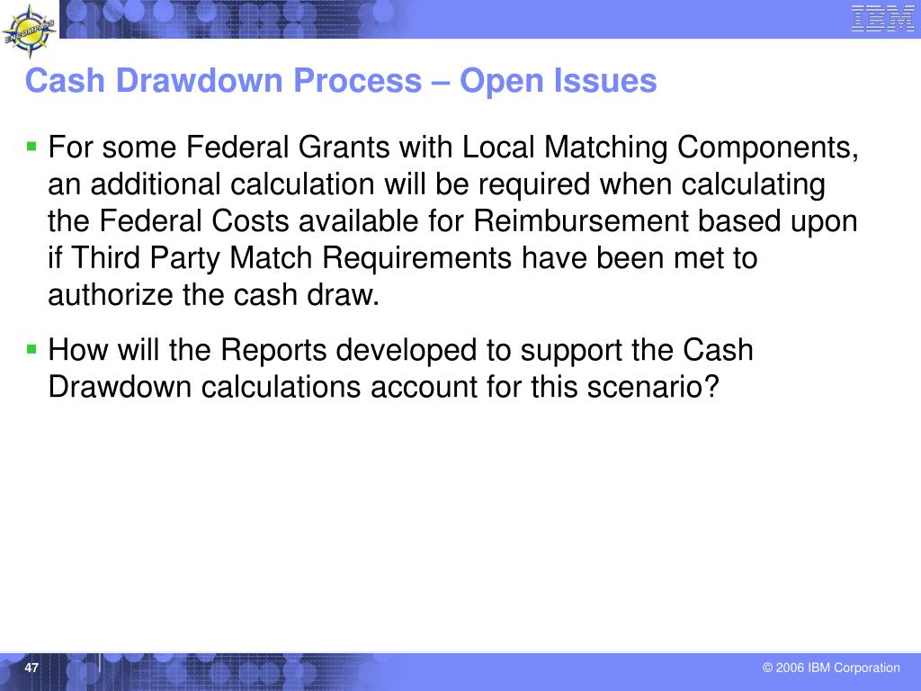 Cash Drawdown Process – Open Issues