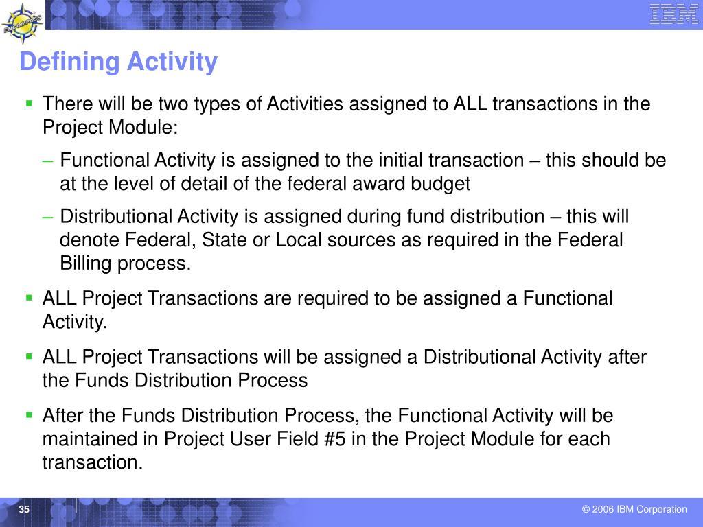Defining Activity
