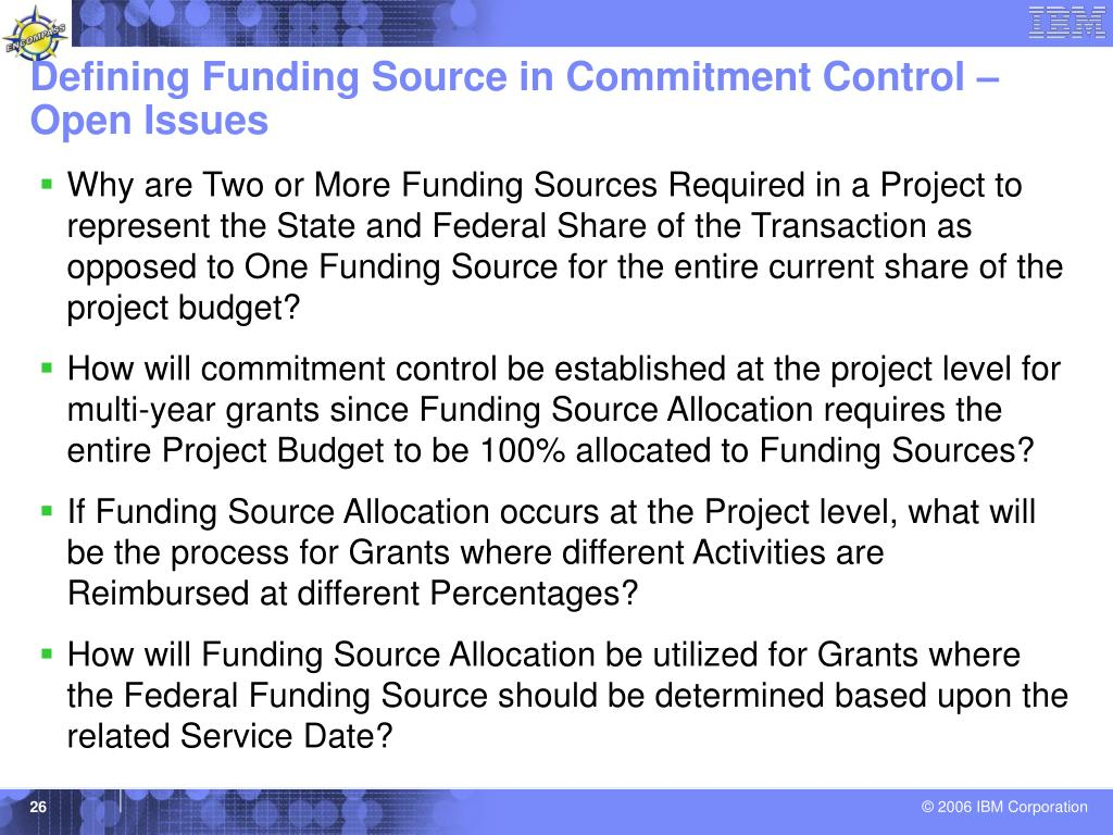 Defining Funding Source in Commitment Control – Open Issues