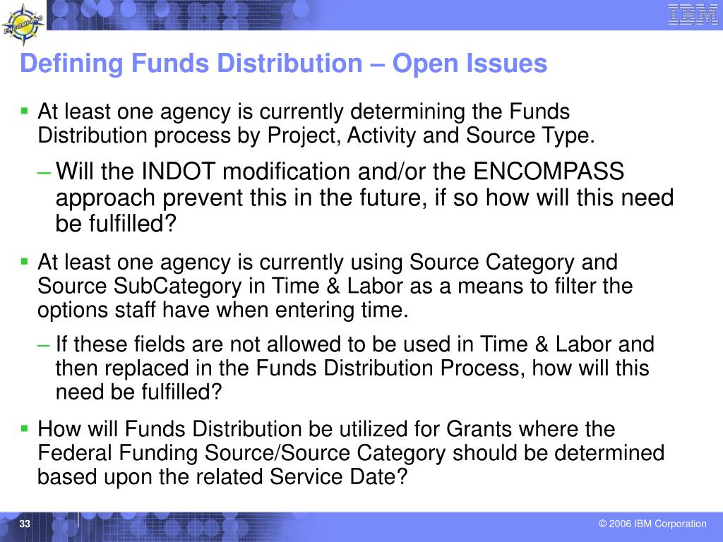 Defining Funds Distribution – Open Issues