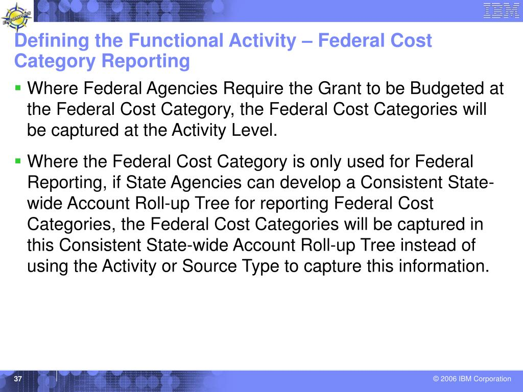 Defining the Functional Activity – Federal Cost Category Reporting