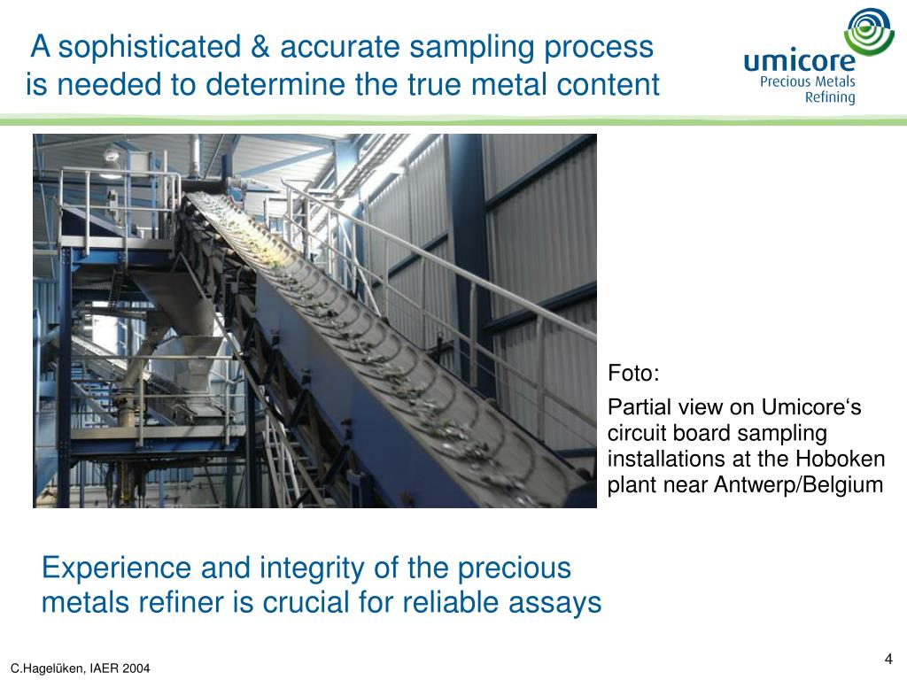 A sophisticated & accurate sampling process is needed to determine the true metal content