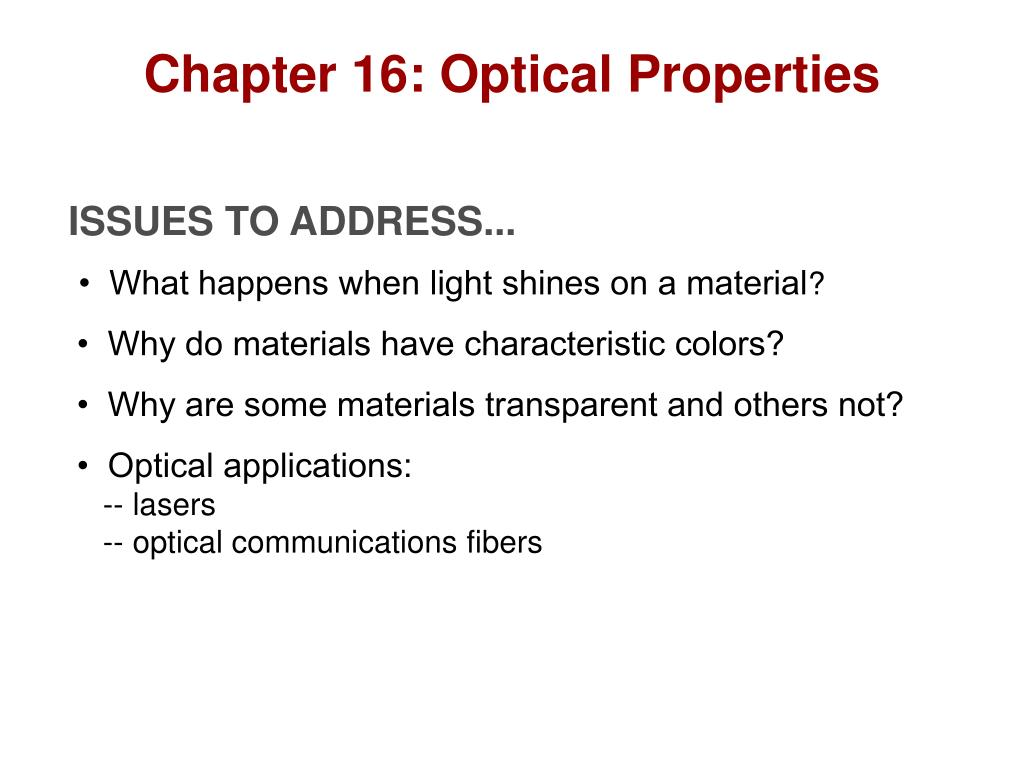Chapter 16: Optical Properties