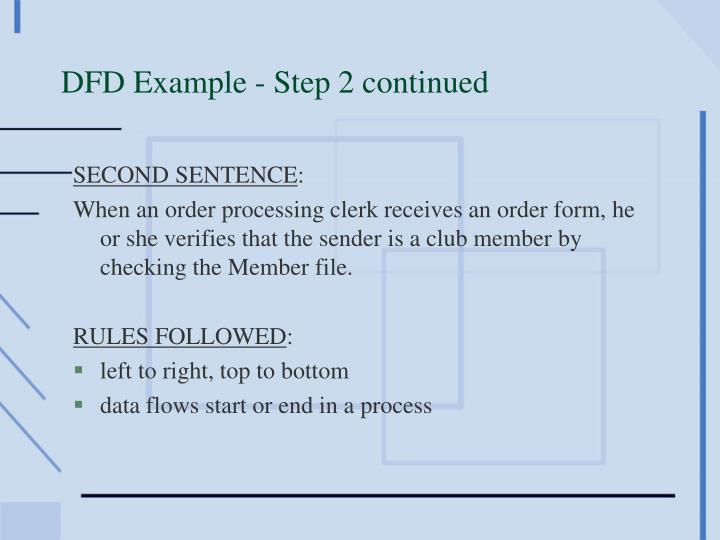 DFD Example - Step 2 continued