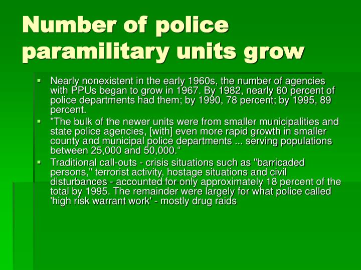 Number of police paramilitary units grow
