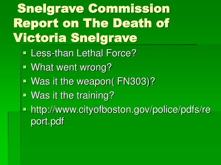 Snelgrave Commission Report on The Death of Victoria Snelgrave
