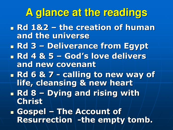 A glance at the readings