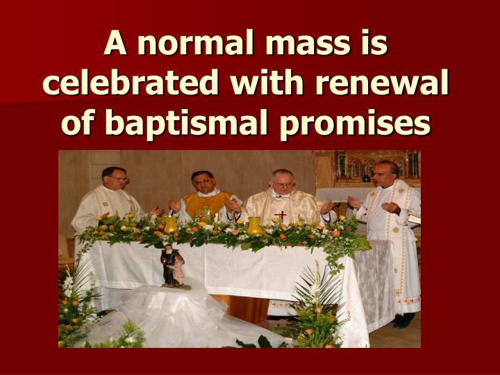 A normal mass is celebrated with renewal of baptismal promises