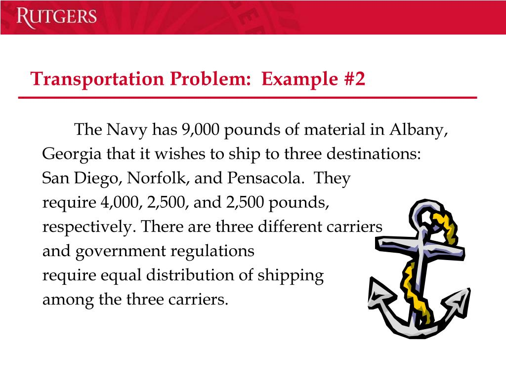 Transportation Problem:  Example #2