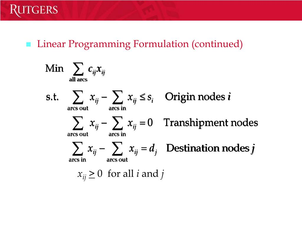 Linear Programming Formulation (continued)