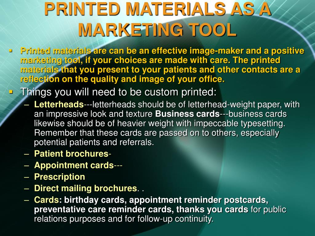 PRINTED MATERIALS AS A MARKETING TOOL