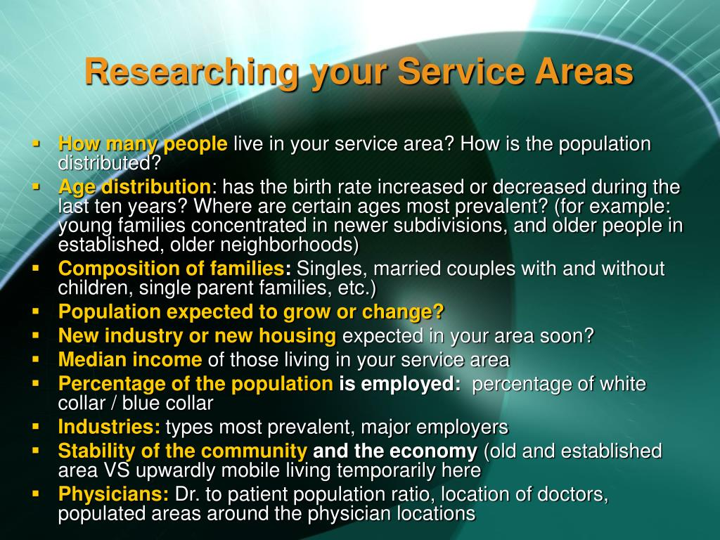 Researching your Service Areas