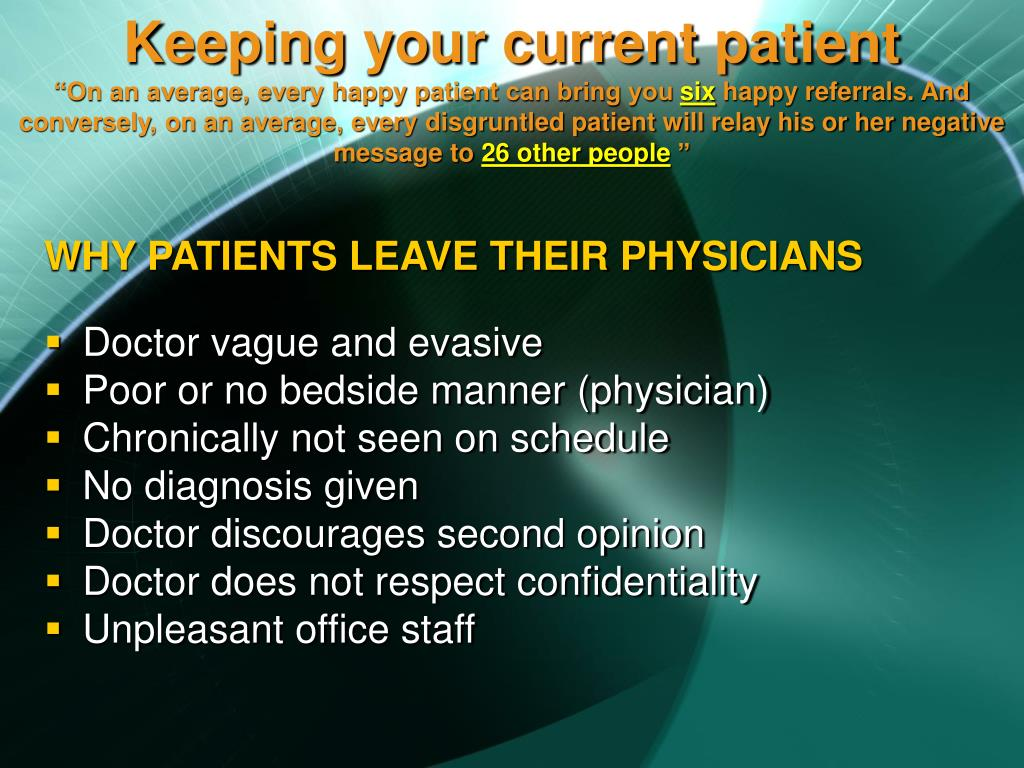 Keeping your current patient