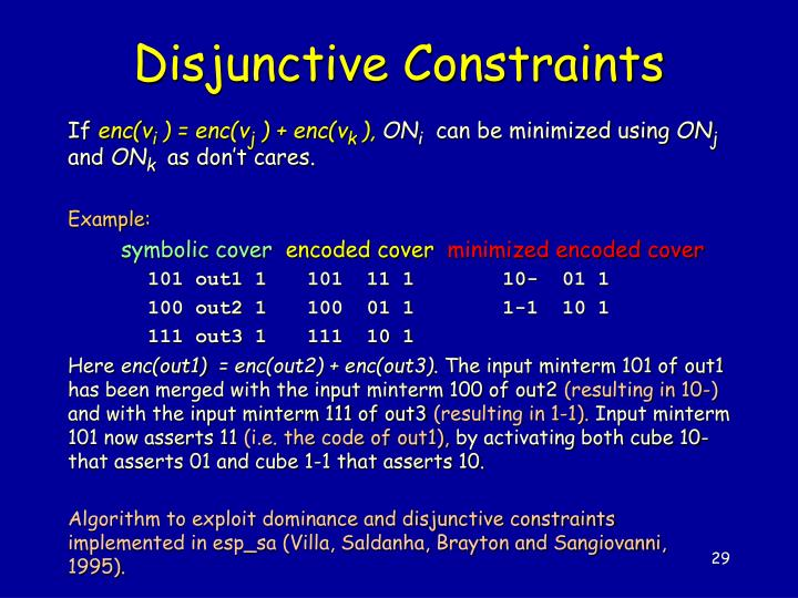 Disjunctive Constraints