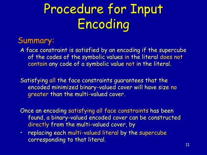 Procedure for Input Encoding
