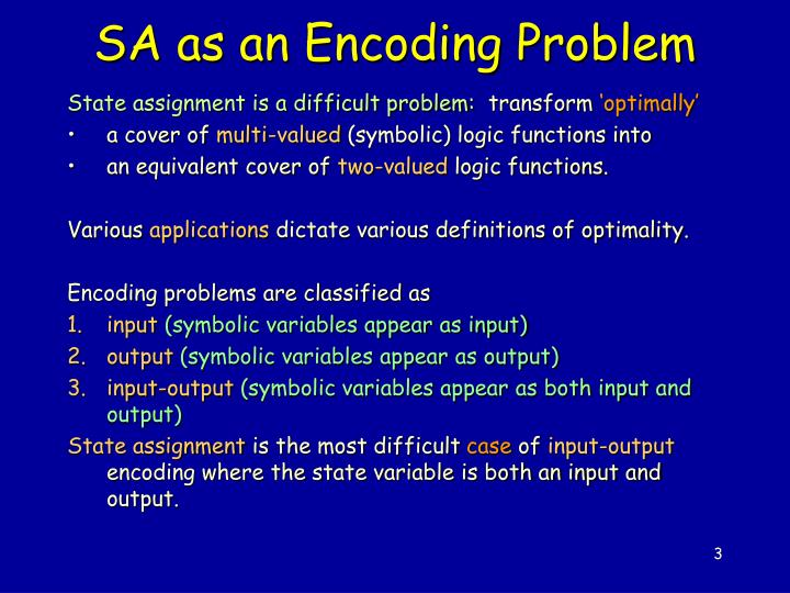Sa as an encoding problem