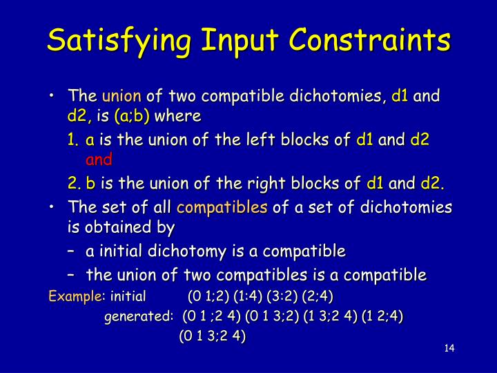 Satisfying Input Constraints
