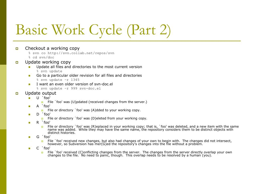 Basic Work Cycle (Part 2)