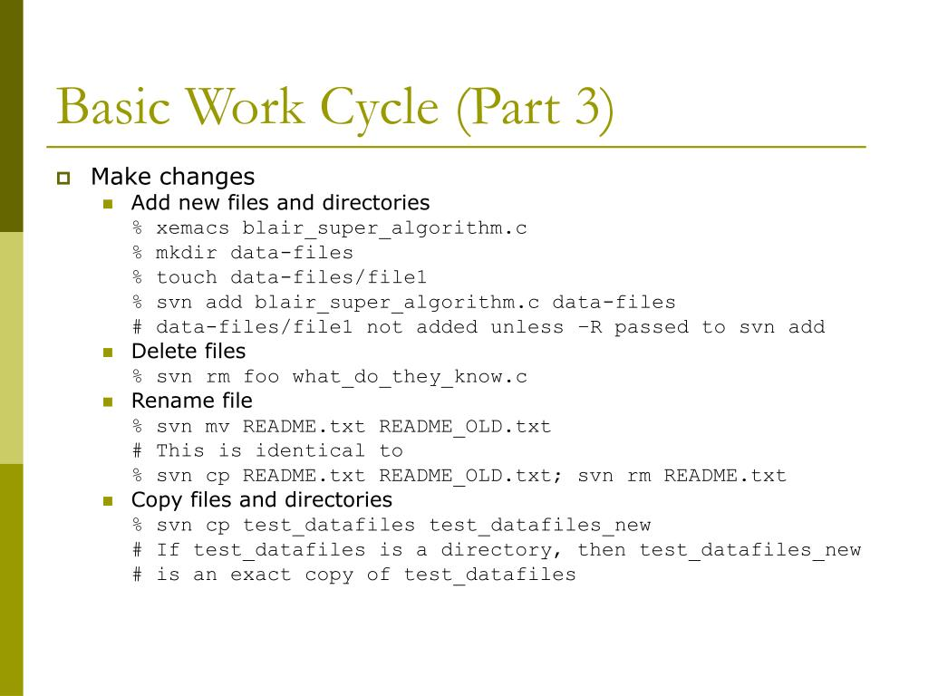 Basic Work Cycle (Part 3)