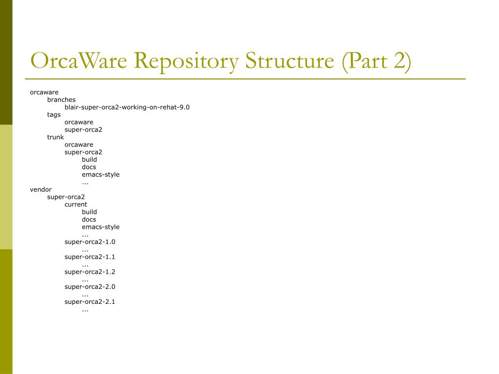 OrcaWare Repository Structure (Part 2)