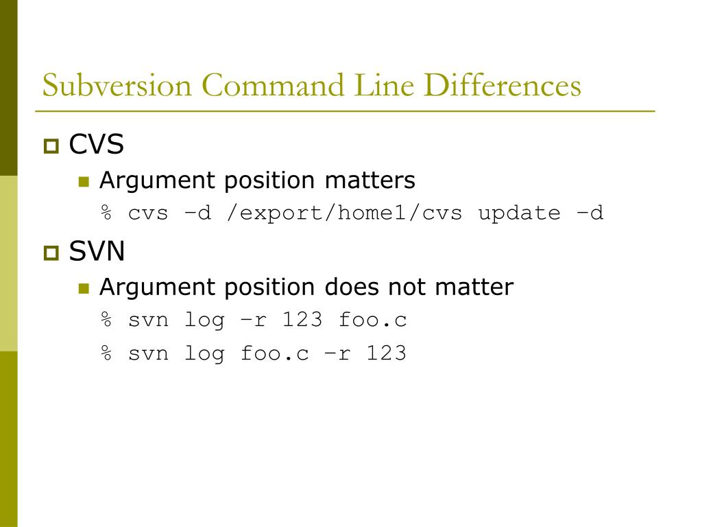 Subversion Command Line Differences