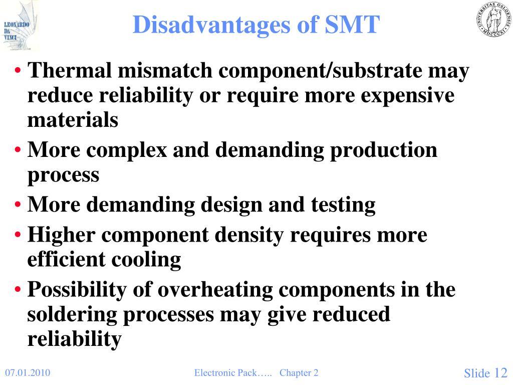 Disadvantages of SMT