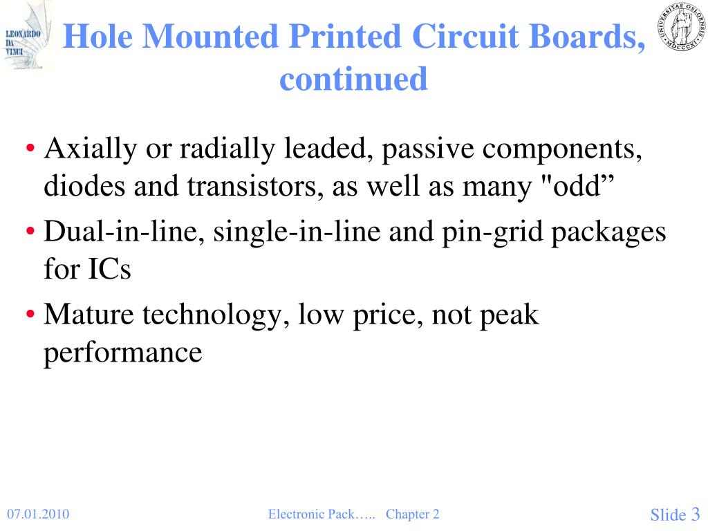 Hole Mounted Printed Circuit Boards, continued