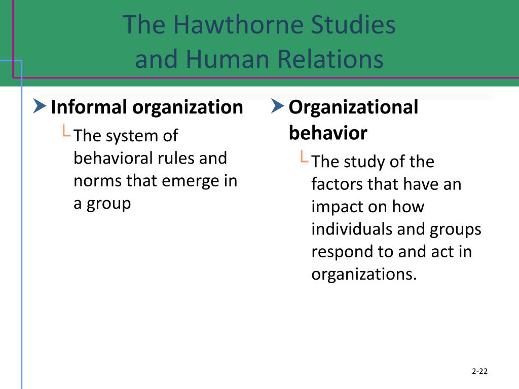 the hawthorne studies The hawthorne studies provided a base for further experiments and research in this field although the hawthorne effect did not depend on the particular expectation of the researchers, but that being studied caused the improved performance.