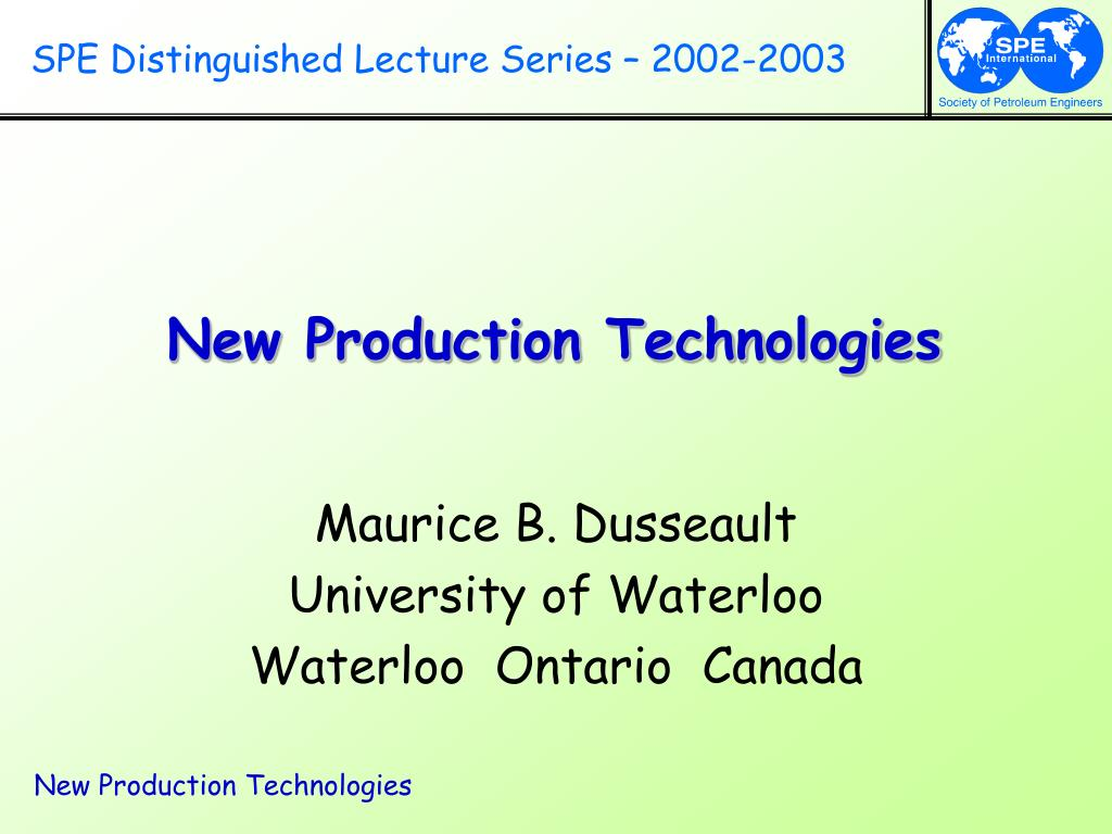 SPE Distinguished Lecture Series – 2002-2003