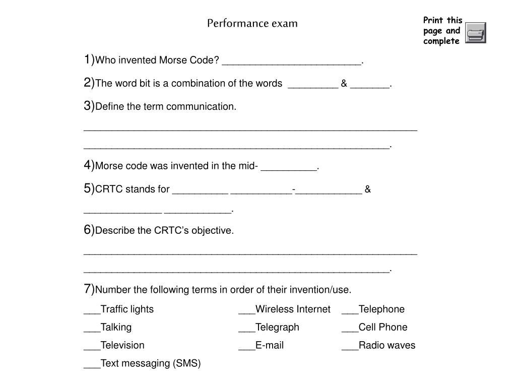 Performance exam