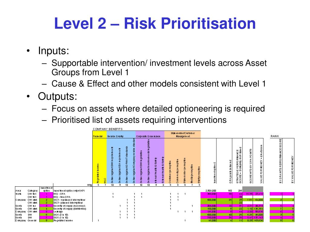 Level 2 – Risk Prioritisation