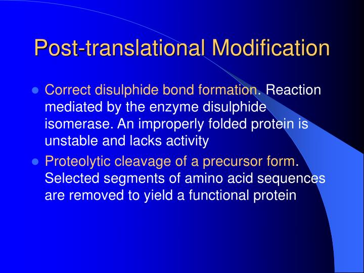 Post translational modification