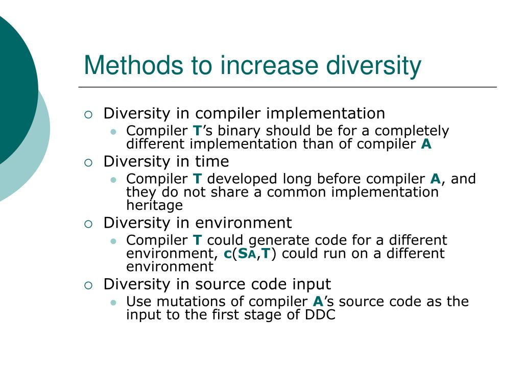 Methods to increase diversity