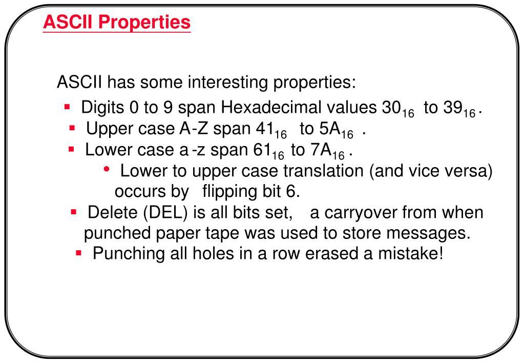 ASCII Properties