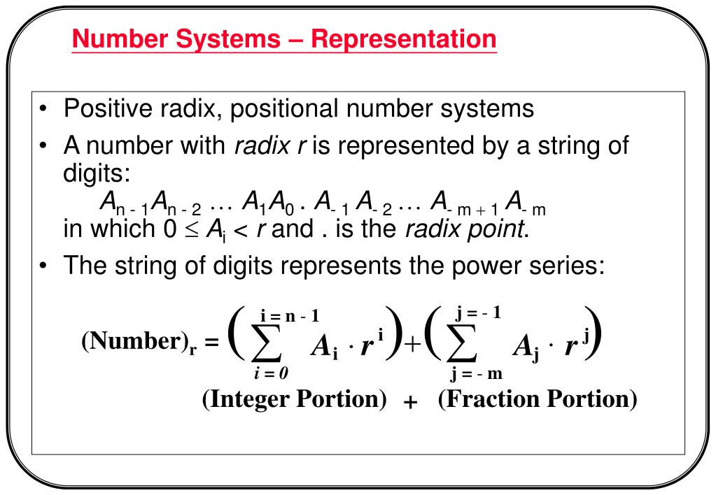 Positive radix, positional number systems
