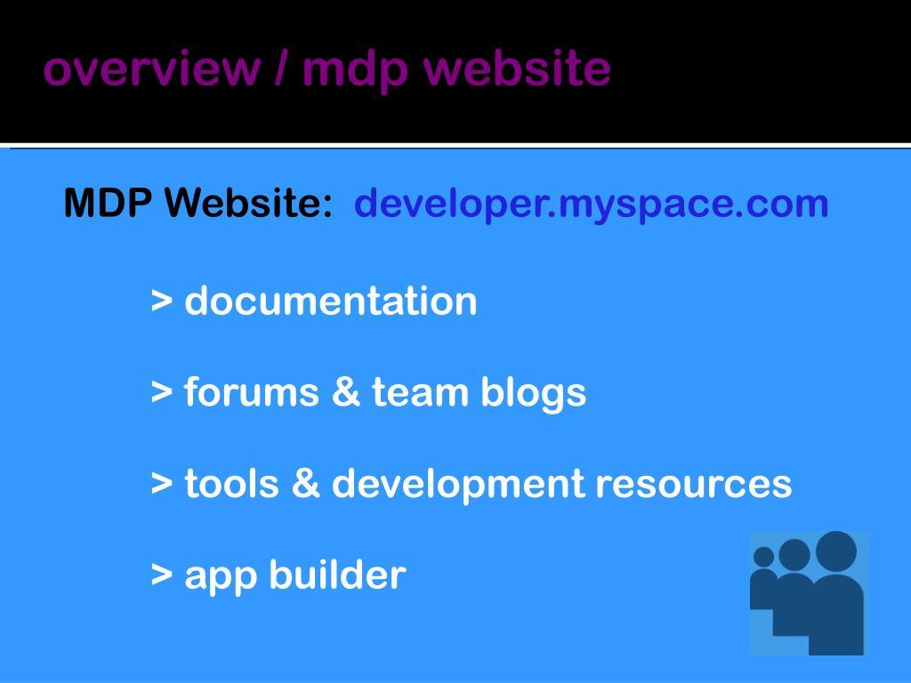 overview / mdp website