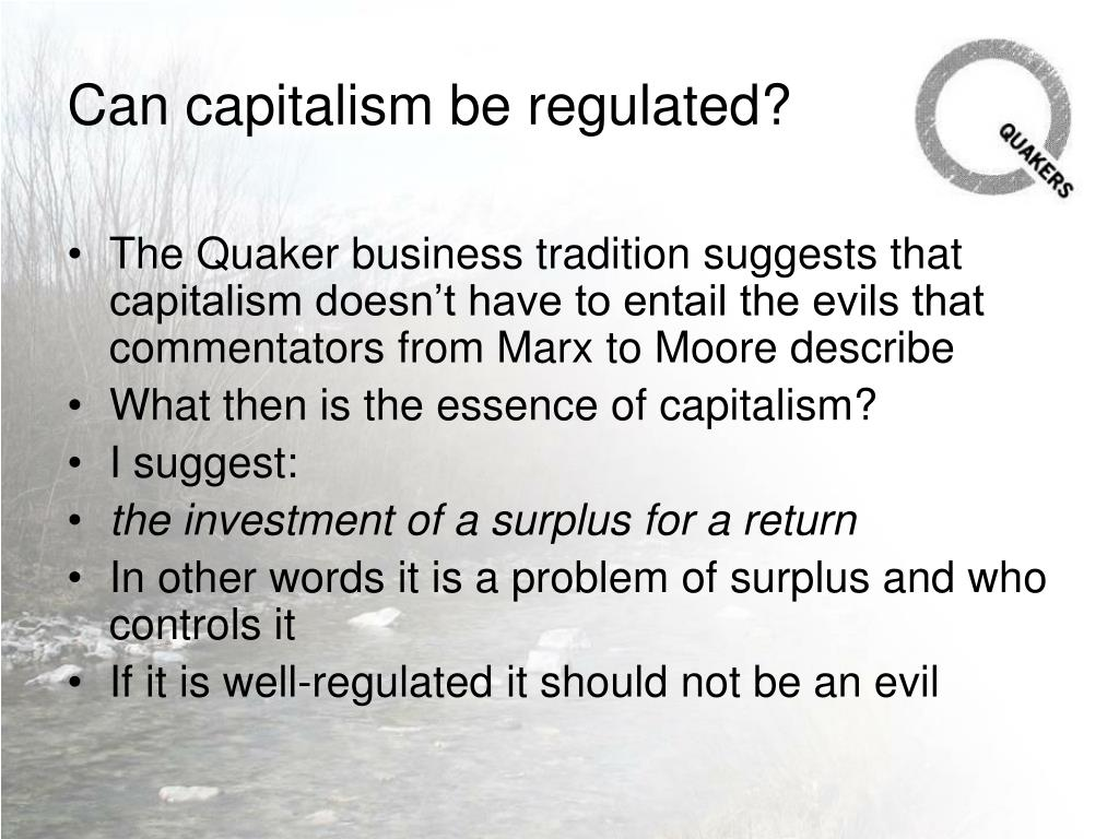 Can capitalism be regulated?