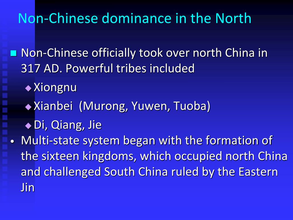 Non-Chinese dominance in the North
