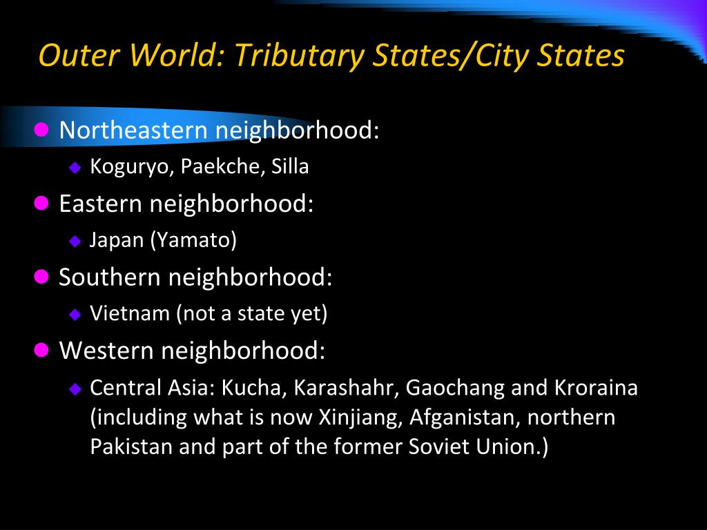 Outer World: Tributary States/City States
