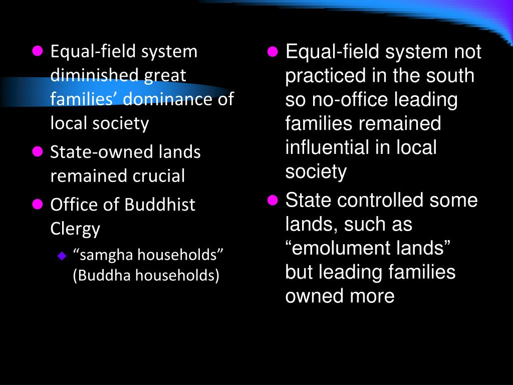 Equal-field system diminished great families' dominance of local society