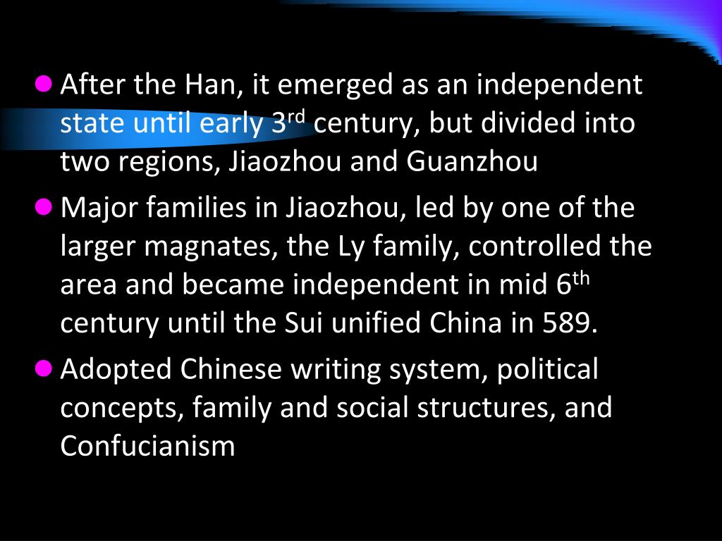 After the Han, it emerged as an independent state until early 3
