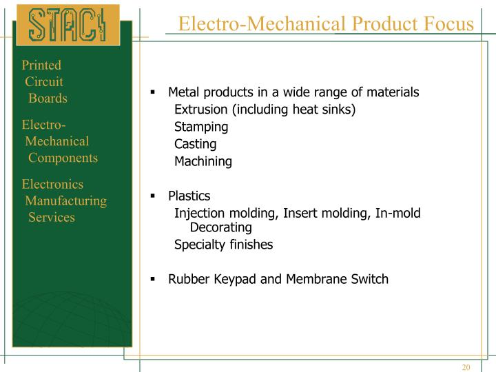 Electro-Mechanical Product Focus
